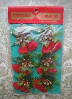 Vtg NIP Christmas Tie On Decor Flocked Bell Soft Plastic Holly Glitter Chenille