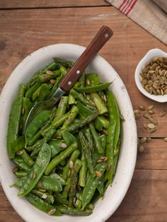 Cat Cora's Asparagus and Snow Pea Salad with Lime Vinaigrette and Pepitas Recipe