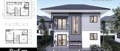 House Plans Idea with 3 Bedrooms - Sam House Plans Two Storey House Plans, 2 Storey House, Tiny House Plans, Modern House Plans, House Floor Plans, Prospect House, Beautiful Modern Homes, Cute House, Garden Living