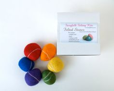 Rainbow Rock Kit, learn how to needle felt and wet felt handmade craft DIY new hobby wool covered stone pebble crafting with kids children