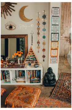 Meditation Raumdekor, Meditation Room Decor, Witch Room, Spiritual Decor, Room Ideas Bedroom, Bedroom Bed, Zen Bedroom Decor, Zen Home Decor, Zen Bedrooms
