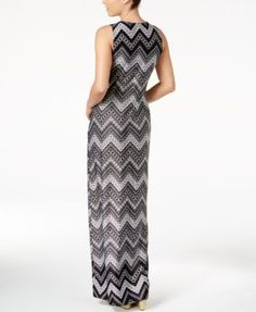 Ny Collection Petite Chevron-Print Maxi Dress - Black P/XL