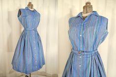 1950s Dress// 50s Dress// Blue Striped Shirtwaist Dress Set// Small by RockabillyRavenVtg on Etsy
