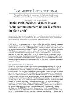 Daniel Petit dans commerce International