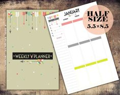 Half Size Weekly Planner Printable Week On by PlanBelieveAchieve