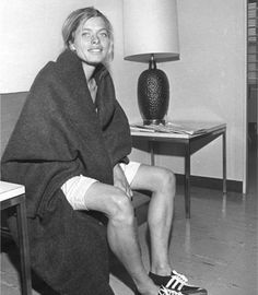 Bobbi Gibb, first woman to run the Boston Marathon in 1966, running without a number because women were not allowed into the race.