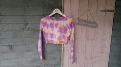 Women's long sleeve crop top. Purple & yellow. Size 10