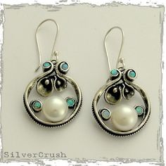 Sterling silver pearl earrings with tiny blue opals by silvercrush, $88.00