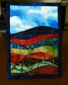 Batik Landscape Art Quilt Mini Landscape 5 x 7 by LyndiArt on Etsy