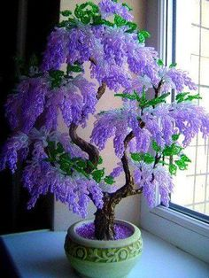 A Gorgeous Beaded Bonsai (I think these are beads, pretty) A Gorgeous Bonsai that looks too perfect to be Real, but I still love it all the same. What a gorgeous tree or bush, lucky if you have one of those . Beautiful Bonsai in Bloom Love this seed bead Wisteria Bonsai, Bonsai Garden, Bonsai Trees, Bougainvillea Bonsai, Flowering Bonsai Tree, Indoor Bonsai Tree, Horticulture, Pot Jardin, French Beaded Flowers