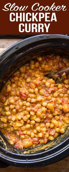 This Slow Cooker Chickpea Curry a set-it-and-forget-it meal. Just pile all the i. This Slow Cooker Chickpea Curry a set-it-and-forget-it meal. Just pile all the ingredients into the slow cooker and come back to a hot meal hours later. Slow Cooker Chickpea Curry, Vegan Chickpea Curry, Vegan Slow Cooker, Chickpea Recipes, Vegan Crockpot Recipes, Slow Cooker Recipes, Vegetarian Recipes, Healthy Recipes, Bean Recipes
