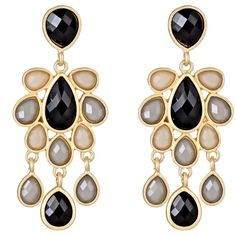 Jewel Cabana Chandelier Earrings in Onyx