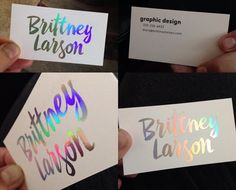 Wetheprinters spot uv business cards silk laminated business finally someone that loves holographic foiling as much as we do thanks to brittney larson reheart Images