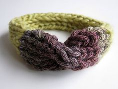 Hand Knitted Headband. Pure Wool. Lemon green by OkBee on Etsy, €22.00