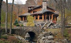 """If the log cabin-dwelling pioneers of old were alive to see 935 Moonhaw Road, they would be in awe of its seven bedrooms, five baths, and square feet on secluded acres. """"It was always a personal fantasy of mine to have a log cabin home,"""" the cur Future House, My House, Casas Country, Log Cabin Homes, Log Cabins, Cabins And Cottages, Cabins In The Woods, House Numbers, House Goals"""