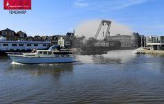 Toen en nu. 1924 - 2014. Alkmaar, zicht op de Kanaalkade en Ringers Chocolade vat.