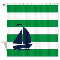 Nautical Shower Curtain - Green and White Stripes - Navy Sailboat - Kids Bathroom Decor - by #GatheredNestDesigns, $78.00
