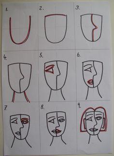 Visual Arts at AIS: Picasso inspired portrait Beeldende kunst bij AIS: door Picasso geïnspireerd portret Kunst Picasso, Art Picasso, Picasso Drawing, Picasso Paintings, Pablo Picasso, Portrait Picasso, Cubist Portraits, Arte Hip Hop, Cubist Art