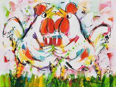 Dit is een: Acrylverf op doek, titel: 'Cheers' kunstwerk vervaardigd door: Liz