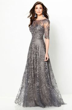 Montage by Mon Cheri 219976 Illusion Neckline Mother of the .-Montage by Mon Cheri 219976 Illusion Neckline Mother of the Bride Dress - Lace Evening Dresses, Elegant Dresses, Pretty Dresses, Evening Gowns, Beautiful Dresses, Lace Gowns, Afternoon Dresses, Flapper Dresses, Tulle Gown