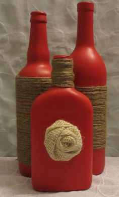 Set of 3 twine wrapped red bottles by OrangeCreek on Etsy Mais Yarn Bottles, Twine Bottles, Wrapped Wine Bottles, Empty Wine Bottles, Wine Bottle Art, Painted Wine Bottles, Diy Bottle, Recycled Bottles, Bottles And Jars