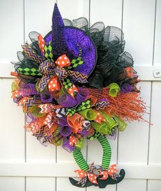 Witchy Wreath with tu-tu skirt, orange broom, and purple skirt by Whimsy Wreaths