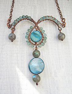Copper Necklace Elegant Necklace Blue Rustic by MaryBulanova