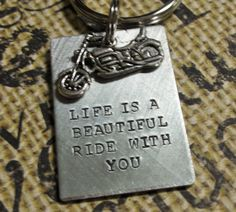 Harley Davidson Motorcycle KeychainLife Is by TheLandlockedDogTwo