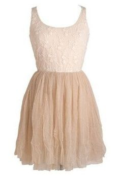 Cream Lace flower appliqué and nude skirt  tank dress  cute teen girl fashion for spring and summer