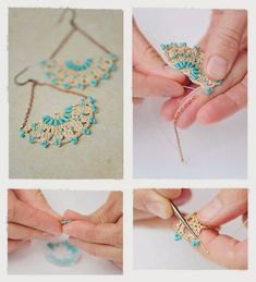 Crochet earrings - tutorial & free pattern (russ) Pinned from minchanka. Thread Crochet, Diy Crochet, Crochet Crafts, Crochet Jewelry Patterns, Crochet Accessories, Crochet Bracelet, Crochet Earrings, Beaded Jewelry, Handmade Jewelry