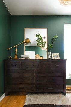 A rich, moody dressing room makeover before and after. Eclectic, deep wood, dark green, closet wardrobe in a small space. Green Bedroom Walls, Green Master Bedroom, Wood Bedroom, Bedroom Decor, Bedroom Small, Hunter Green Bedrooms, Benjamin Moore Bedroom, Benjamin Moore Green, Dark Green Rooms