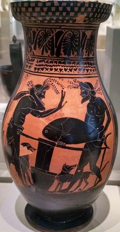 Etruscan painted pottery depiciting fishermen about to clean a tuna, ca.500 BCE, Vulci. Altes museum Berlin