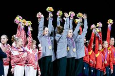 London 2012 - medallists in the Women's Team Artistic Gymnastics Final. Team USA took gold at North Greenwich Arena, with Russia claiming silver and Bronze going to Romania