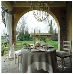 shabby and chic veranda, table string under the patio