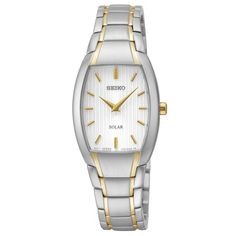 Seiko SUP260 Women's Watch Solar Silver Striped Dial Two-Tone Stainless Steel Band