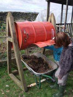 DIY Compost Tumbler - you could also use an old 200lt pickle barrel - often for sale on ebay.