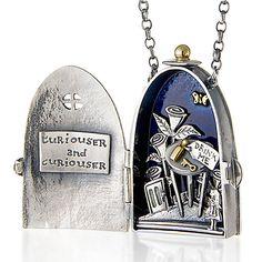 Alice in Wonderland 'Curiouser And Curiouser' Locket by Nick Hubbard Jewellery I Love Jewelry, Jewelry Art, Silver Jewelry, Vintage Jewelry, Handmade Jewelry, Jewelry Design, Jewelry Necklaces, Antique Jewelry, Gothic Jewelry