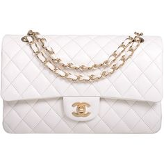 Pre-Owned Chanel White Quilted Lambskin Large Classic Double Flap Bag... (10 755 BGN) ❤ liked on Polyvore featuring bags, handbags, purses, accessories, bolsas, white, white handbags, colorful handbags, multicolor handbags и white purse