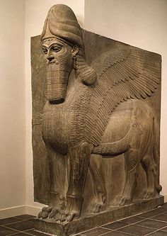 Lamassu - a great stone statue of a human-headed winged bull that preceded the Gate of Ishtar #Assyrian #Mesopotamian