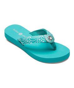 Look at this #zulilyfind! Turquoise Lulu Flip-Flop #zulilyfinds