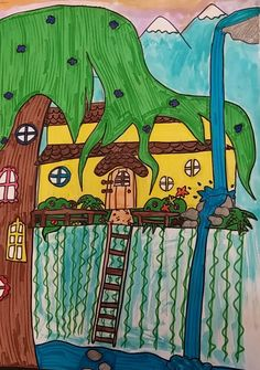 Fifth grade students learned about the artist Friedensreich Hundertwasser. He was a highly creative painter, architect and philosophe...