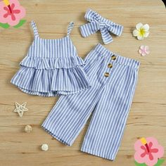 Solid / Striped Ruffled Camisole Top and Pants, Headband for Baby / Toddler Girl - Blue Trendy Toddler Girl Clothes, Toddler Fall Outfits Girl, Toddler Girl Dresses, Cute Baby Clothes, Toddler Girls, Dresses For Babies, Clothes For Kids, Baby Outfits, Kids Outfits