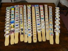 :) Bible retelling sticks - velcro and tiny pics -   10 Commandments, etc.  I'm thinking  could be adpated to mysteries of the rosary or stations of the cross (on a stick)  good visual and hands-on activity http://handsonbibleteacher.blogspot.com/2012/04/paint-paddles-turned-bible-facts-review.html