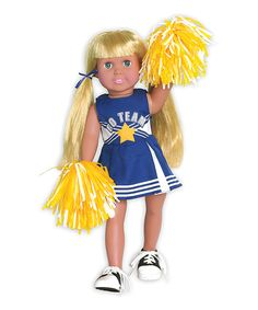 Love this Blue & Yellow Cheerleader Outfit & Pom-Poms for 18'' Doll by Springfield Collection on #zulily! #zulilyfinds