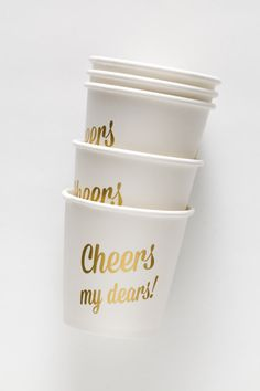 Cheers My Dears Paper Cups  12 Cups 4 oz. by SucreShop on Etsy
