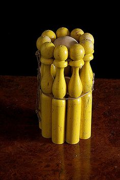 Vintage  French Table Skittles (Nine-Pins) Set  (Jeu de Quilles)
