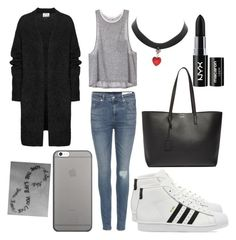 """""""School"""" by musicmelody1 on Polyvore featuring rag & bone, Acne Studios, Native Union, adidas, Yves Saint Laurent and NYX"""
