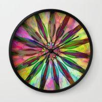 Tropical Rainbow Colors Flower Wall Clock