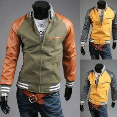 e483bc9deb1 Men s Casual Slim Hit Color Stand Collar Jacket Coat via martEnvy. Click on  the image