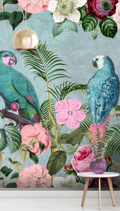 Shop this beautiful Jungle Rendevous mural by Andrea Haase. Bring vivid colour to your surroundings with this beautiful tropical parrot wallpaper mural. Featuring clashing greens and pink, this jungle wallpaper is great for bringing your decor up to date. Parrot Wallpaper, Tropical Wallpaper, Animal Wallpaper, Pink Jungle Wallpaper, Pink And Green Wallpaper, Bird Wallpaper Bedroom, Feature Wallpaper, Wallpaper Decor, Tropical Interior